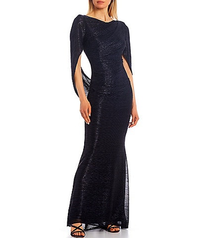 Betsy & Adam Drape Back Metallic Crinkle Mermaid Gown