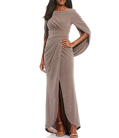 Betsy & Adam Drape Back Metallic Knit Tulip Dress