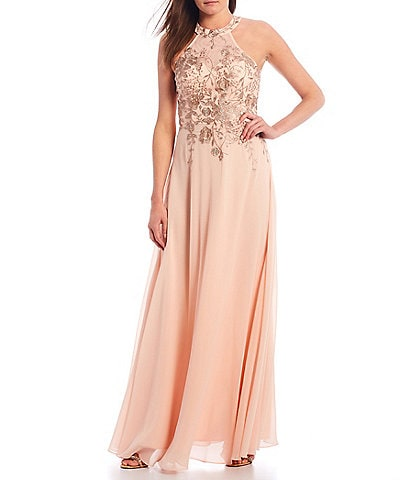 Betsy & Adam Halter Floral Embroidered Chiffon Gown