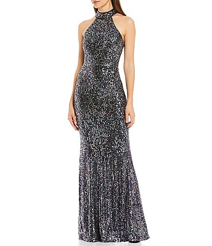 Betsy & Adam Halter Sequin Ombre Mermaid Gown