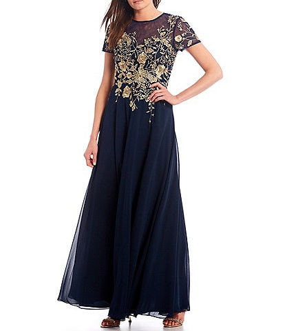 Betsy & Adam Illusion Neck Floral Embroidered Chiffon Gown