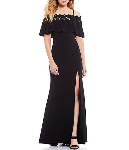 Betsy & Adam Lace Trim Off-the-Shoulder Front Slit Gown