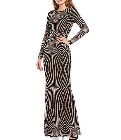 Betsy & Adam Long Sleeve Geometric Glitter Stretch Knit Gown