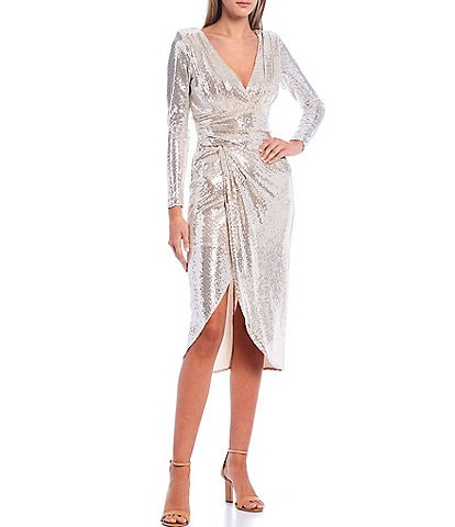 Betsy & Adam Metallic Faux Wrap Deep-V Long Sleeve Midi Dress