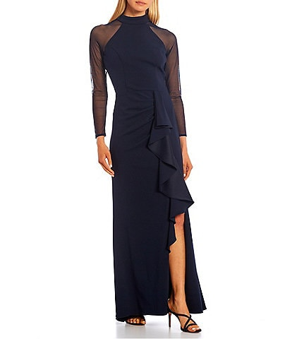 Betsy & Adam Mock Neck Long Illusion Sleeve Ruffle Slit Leg Stretch Gown