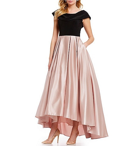 Betsy & Adam Off-the-Shoulder Cap Sleeve Colorblock Hi-Low Gown