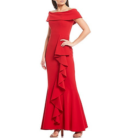 Betsy & Adam Off-the-Shoulder Cap Sleeve Ruffle Front Scuba Crepe Mermaid Gown