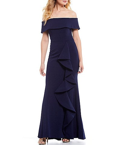 Betsy & Adam Off-the-Shoulder Ruffle Crepe Gown