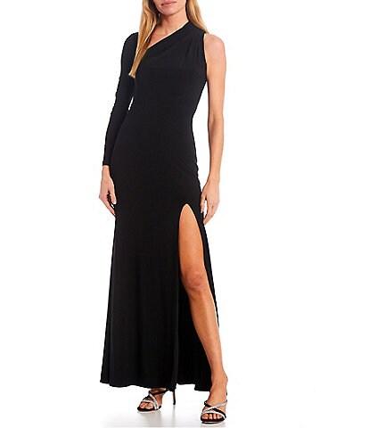 Betsy & Adam One Sleeve Asymmetrical Neckline Stretch Gown