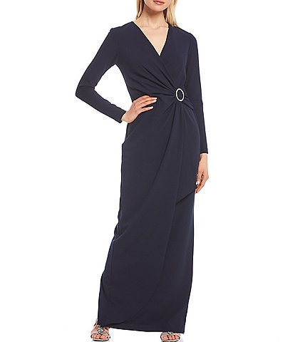 Betsy & Adam Rhinestone Buckle Side Rouch Scuba Crepe Gown