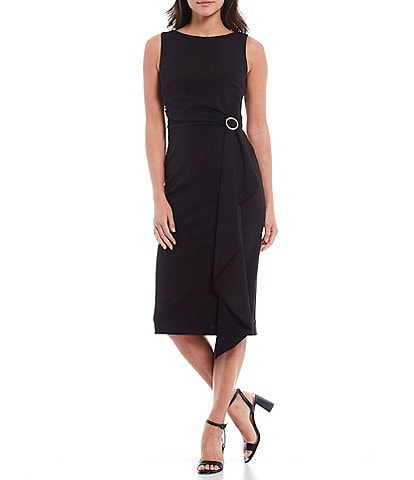 Betsy & Adam Scuba Crepe Rhinestone Buckle Sleeveless Midi Sheath Dress