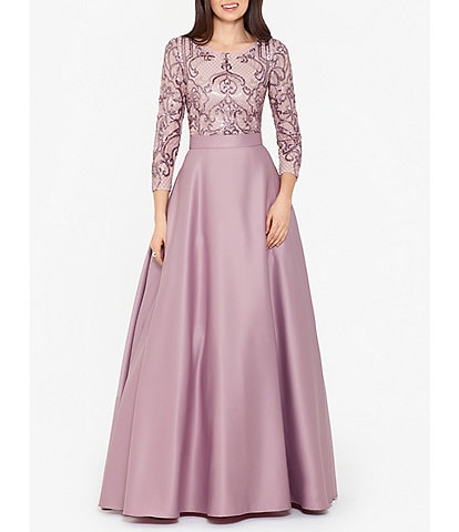 Betsy & Adam Sequin Bodice Long Sleeve Satin Ball Gown