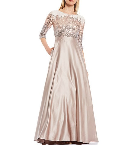 Betsy & Adam Sequin Bodice Scoop Neck Elbow Sleeve Satin Ball Gown