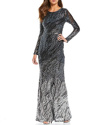 Betsy & Adam Stretch Allover Sequin Ombre Gown