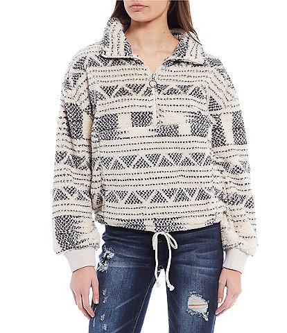 Billabong Mock-Neck Half-Zip Time Off Fleece Pull-Over Sweatshirt