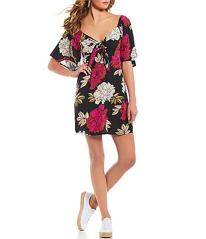 Billabong Delicious Day Floral-Printed V-Neck A-Line Dress
