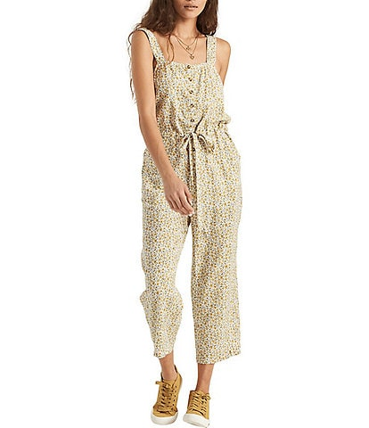 Billabong Floral Button Front Cropped Jumpsuit