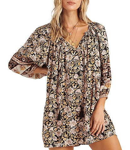 Billabong Gypset Floral Printed Balloon Sleeve Dress