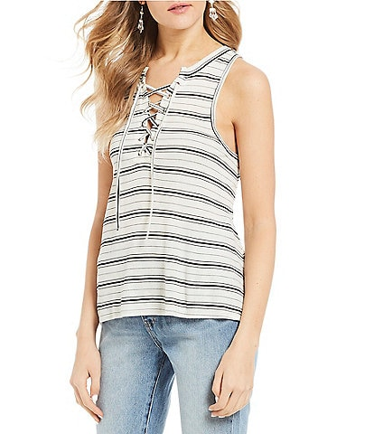 Billabong Let Loose Stripe Lace Up Tank Top