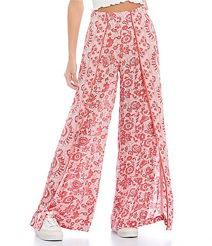 Billabong Mid-Rise Elastic-Waist Spirit Printed Split-Leg Knit Pants