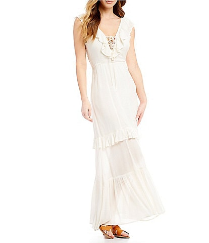 Billabong Romance Row Plunging-V-Neck Long Dress