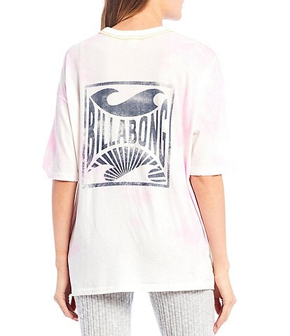 Billabong Rough Waves Tie-Dye Logo Graphic Oversized Pocket Tee