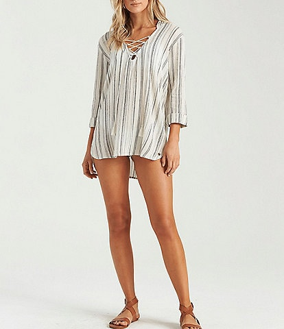 Billabong Same Story Lace Up Hooded Swim Cover Up Tunic