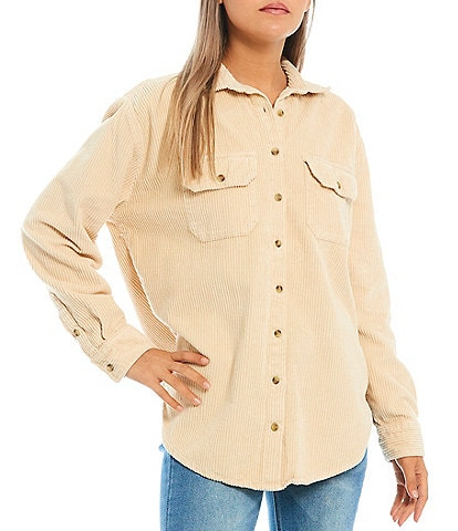 Billabong So Stoked Long-Sleeve Button-Front Oversized-Fit Corduroy Shacket