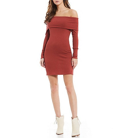 Billabong Sweater Weather Off The Shoulder Knit Dress