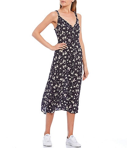 Billabong Sweet Edges Floral Button Front Midi Slip Dress