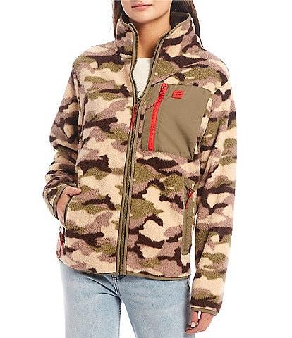 Billabong Switchback Long-Sleeve Stand Collar All-Over Printed Cozy Polar Fleece Jacket