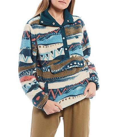Billabong Switchback Printed Snap-Front Cozy Pullover Fleece