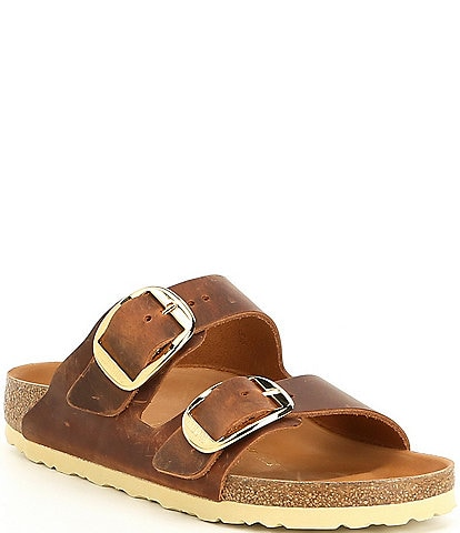 Birkenstock Women's Arizona Oiled Leather Big Buckle Slide Sandals