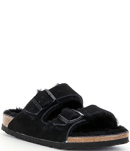Birkenstock Women's Arizona Suede Double Buckle Fur Lined Shearling Sandals