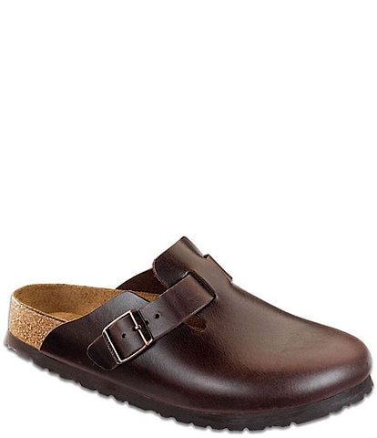 Birkenstock Boston Men's Smooth Leather Round Toe Soft Footbed Clogs