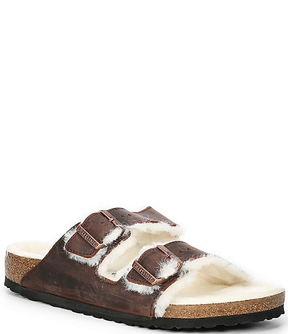 Birkenstock Men's Arizona Oiled Nubuck Leather Shearling Sandals