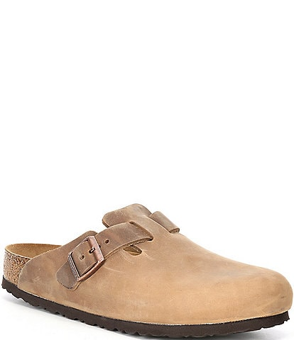 Birkenstock Men's Boston Oiled Leather Soft Footbed Slip On Clogs