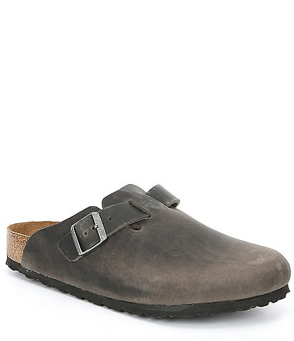 Birkenstock Men's Boston Oiled Leather Soft Footbed Slip On Clogs