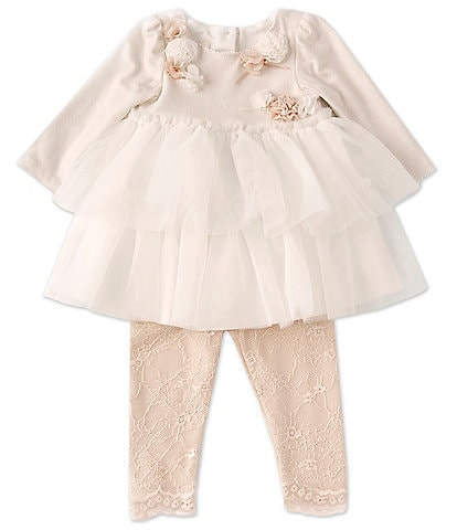Biscotti Baby Girls Newborn-24 Months Floral Applique Detail Long-Sleeve Ruffle Tiered Top & Lace Leggings Set