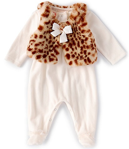 Biscotti Baby Girls Newborn-9 Months Long-Sleeve Footed Coverall & Leopard-Print Vest Set