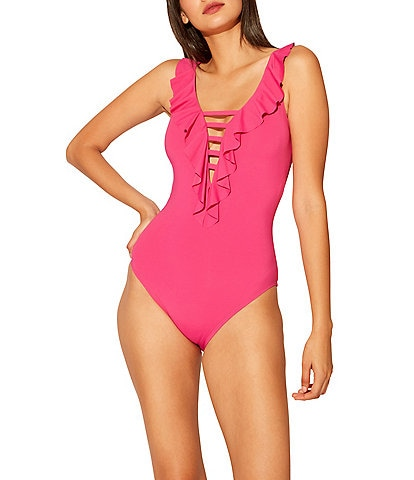 Bleu Rod Beattie Rufflicious Lace Down One Piece Swimsuit
