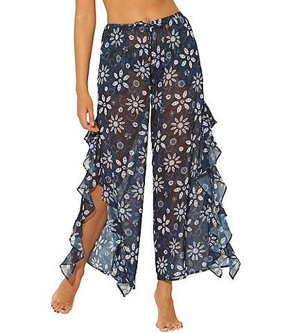 Bleu Rod Beattie Take A Dip Side Ruffle Slit Floral Print Cover Up Pant