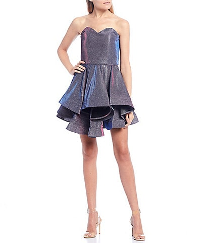Blondie Nites Strapless Metallic Shine Double Hem Fit-and-Flare Dress
