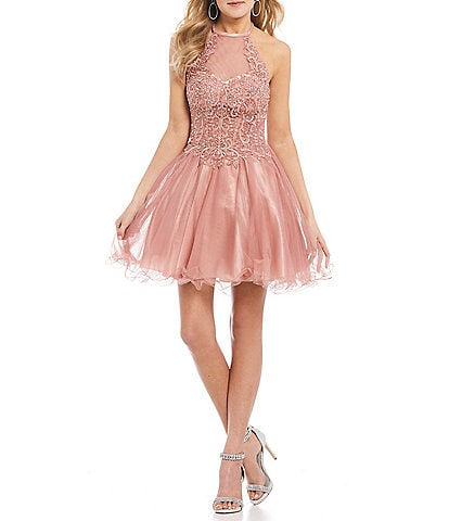 Blondie Nites Halter Neck Embroidered Bodice Fit-and-Flare Dress