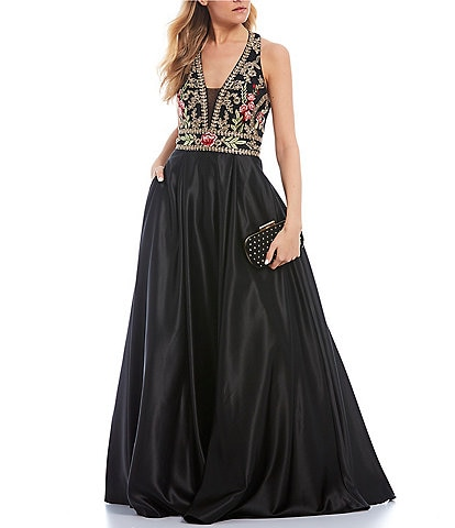 Blondie Nites Halter-Neck Floral Embroidered Satin Ballgown