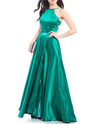 Blondie Nites Halter Neck Lace-Up Back Satin Long Dress