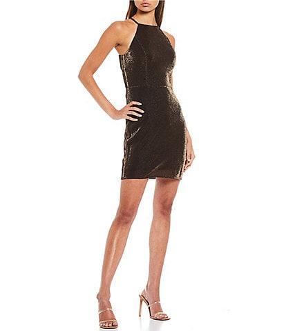 Blondie Nites High-Neck Shimmering Metallic Sheath Dress