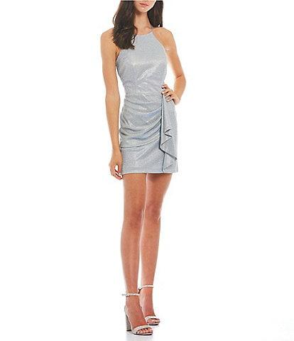 Blondie Nites High-Neck Lace-Up Back Side-Draped Metallic Shimmering Sheath Dress