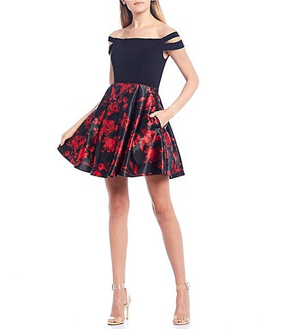 Blondie Nites Off-the-Shoulder Double Strap Floral Print Skirt Fit-and-Flare Dress