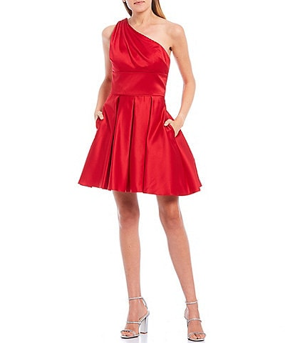 Blondie Nites One-Shoulder Strappy Back Satin Fit & Flare Dress